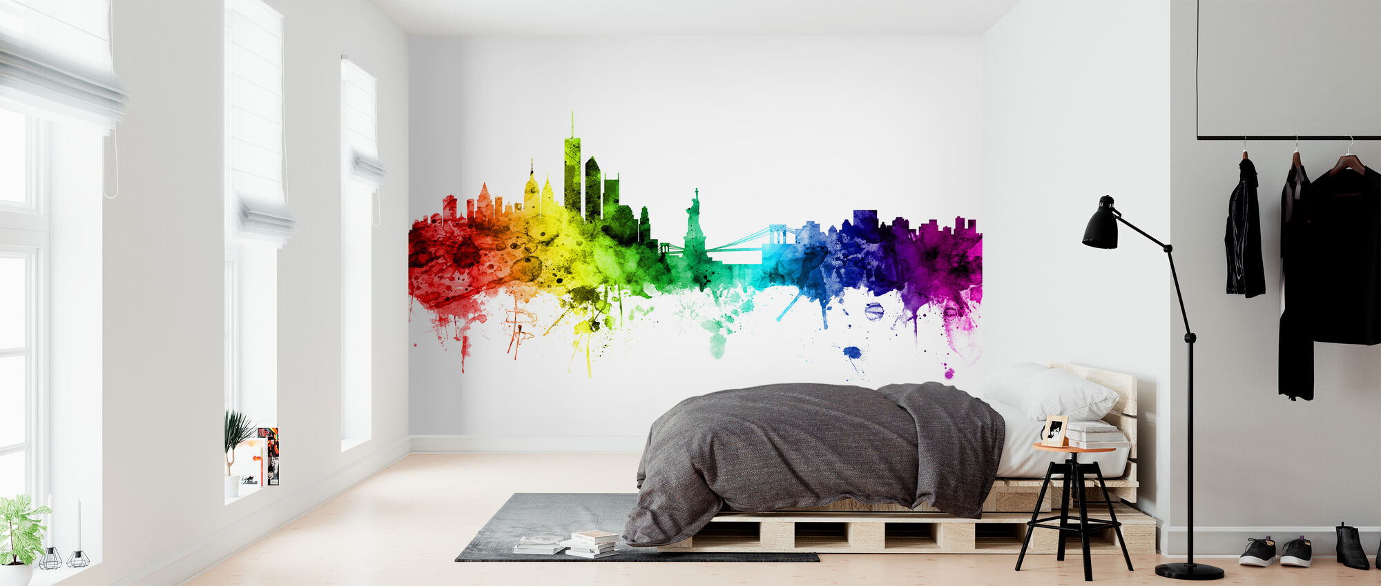 New York Skyline Rainbow - Wallpaper - Bedroom