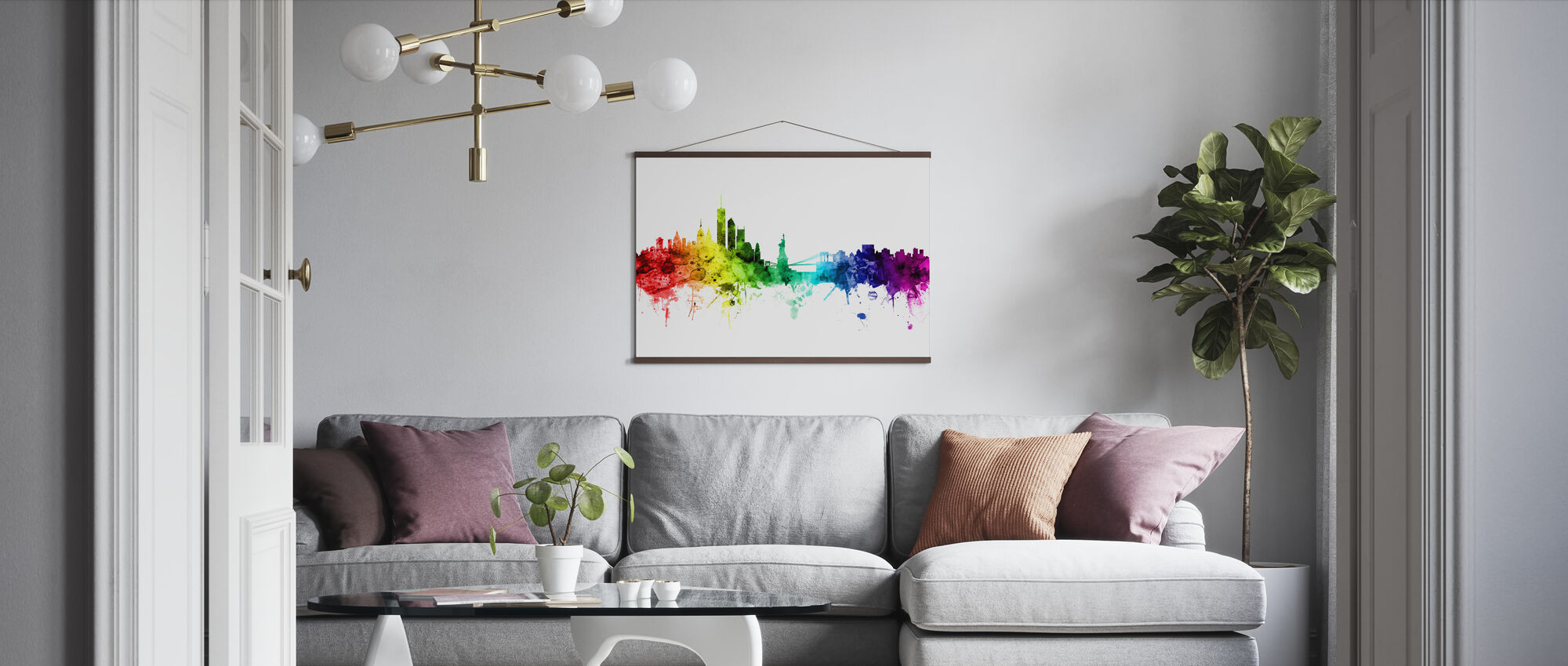 New York Skyline Rainbow - Poster - Living Room