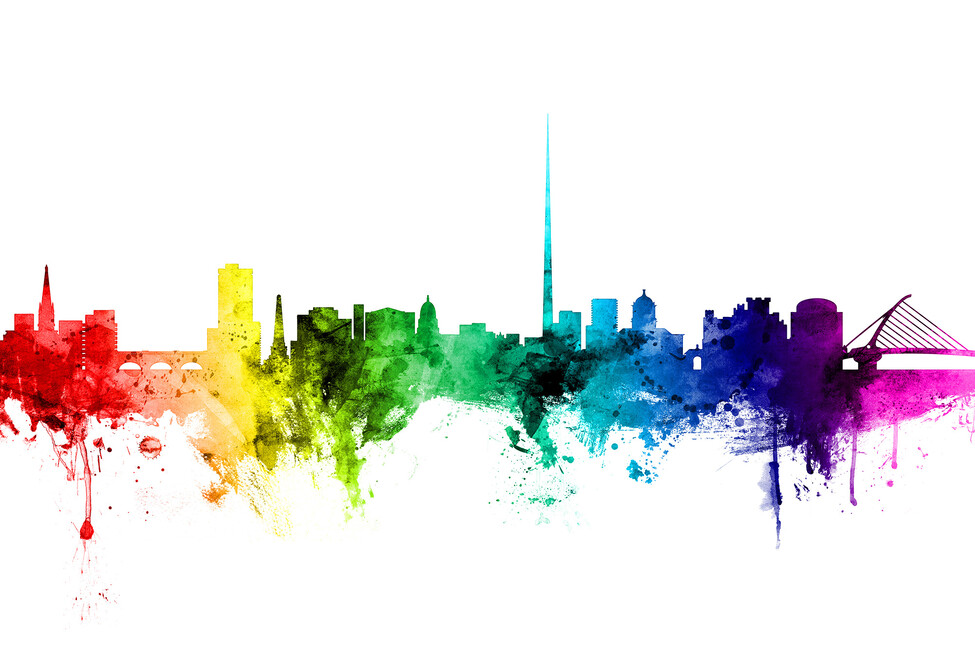 Dublin skyline rainbow wall mural photo wallpaper for Dublin wall mural