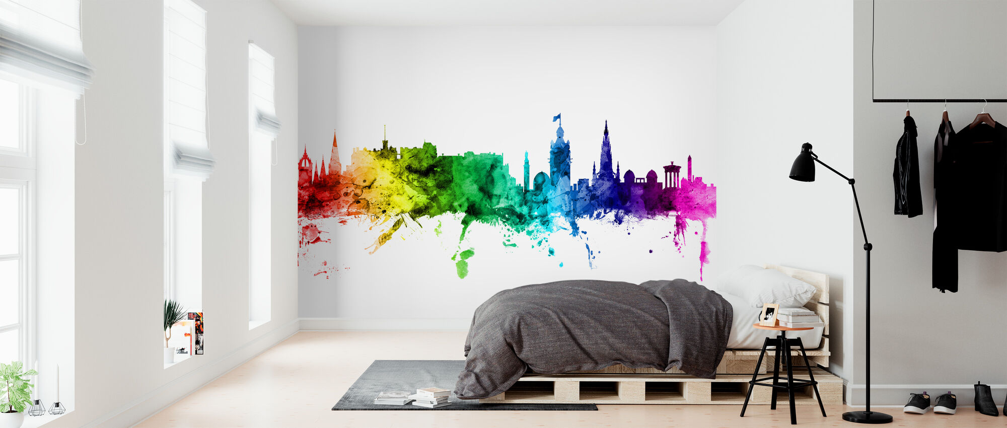 Edinburgh Skyline Rainbow - Wallpaper - Bedroom