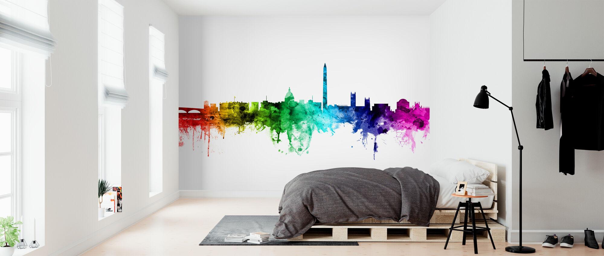Washington DC Skyline Rainbow - Wallpaper - Bedroom