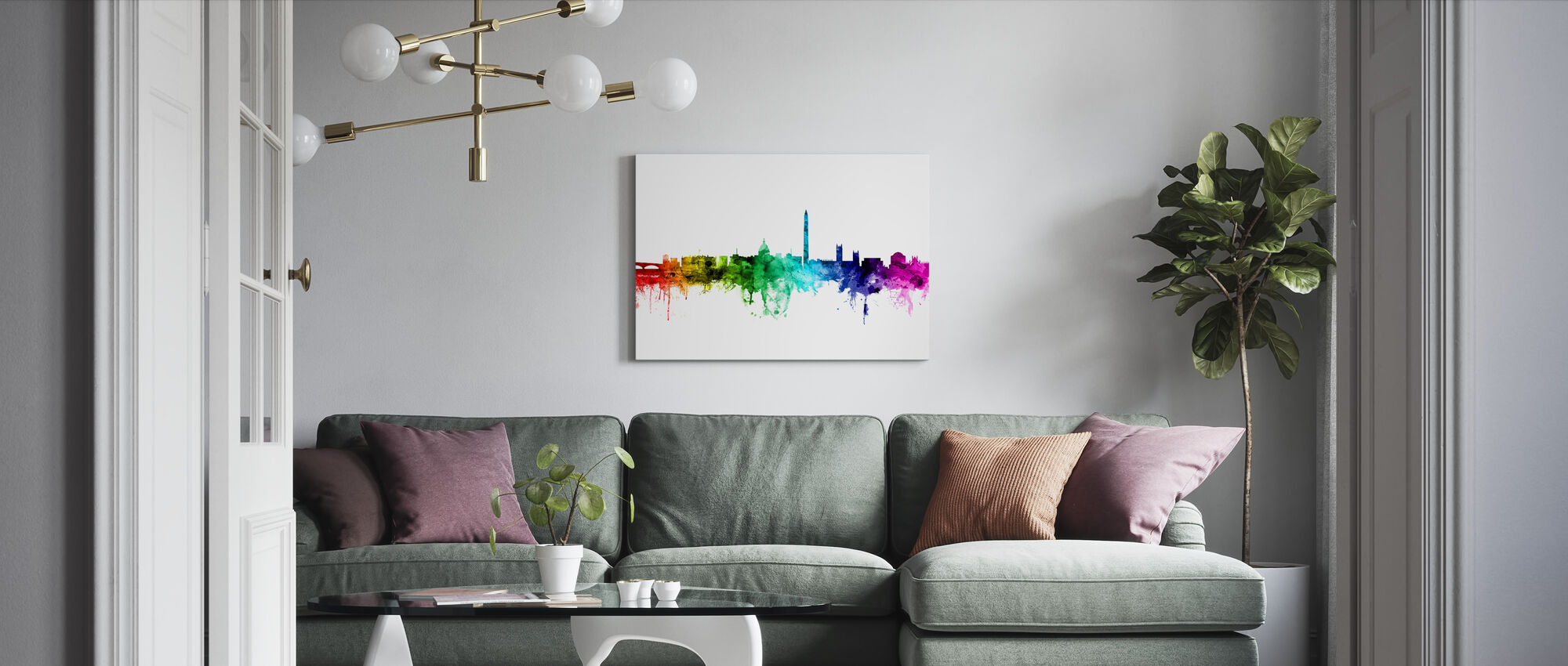 Washington DC Skyline Regnbåge - Canvastavla - Vardagsrum