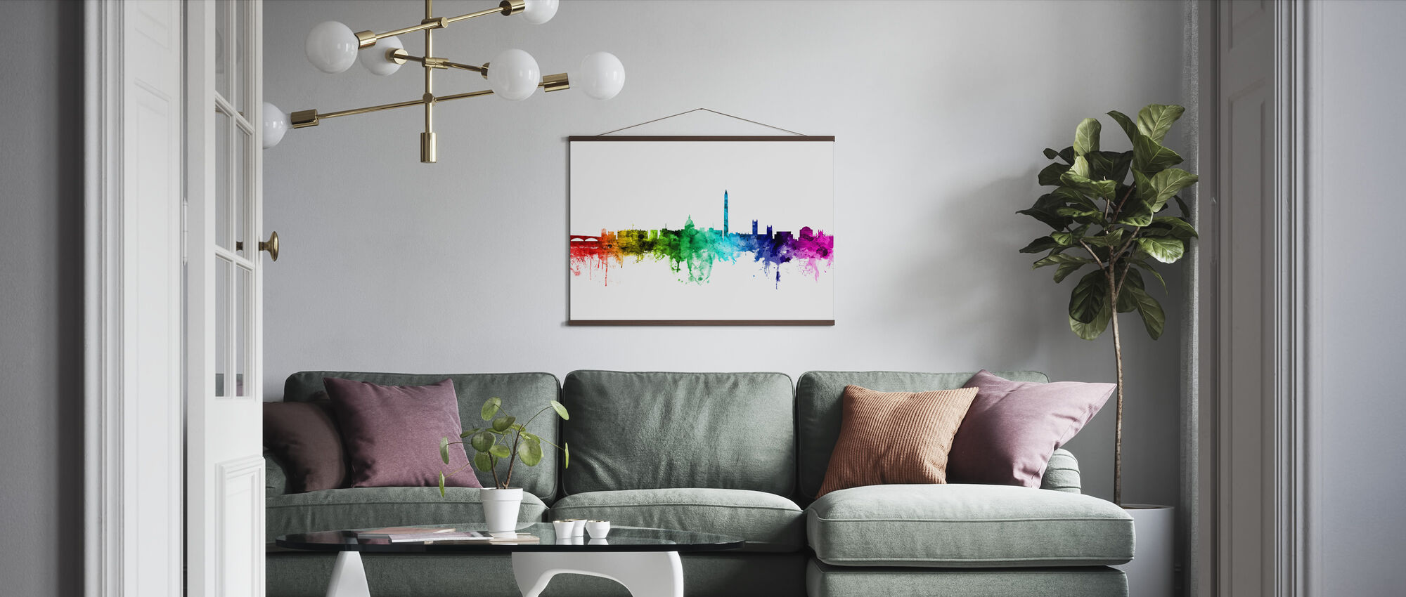 Washington DC Skyline Rainbow - Poster - Living Room