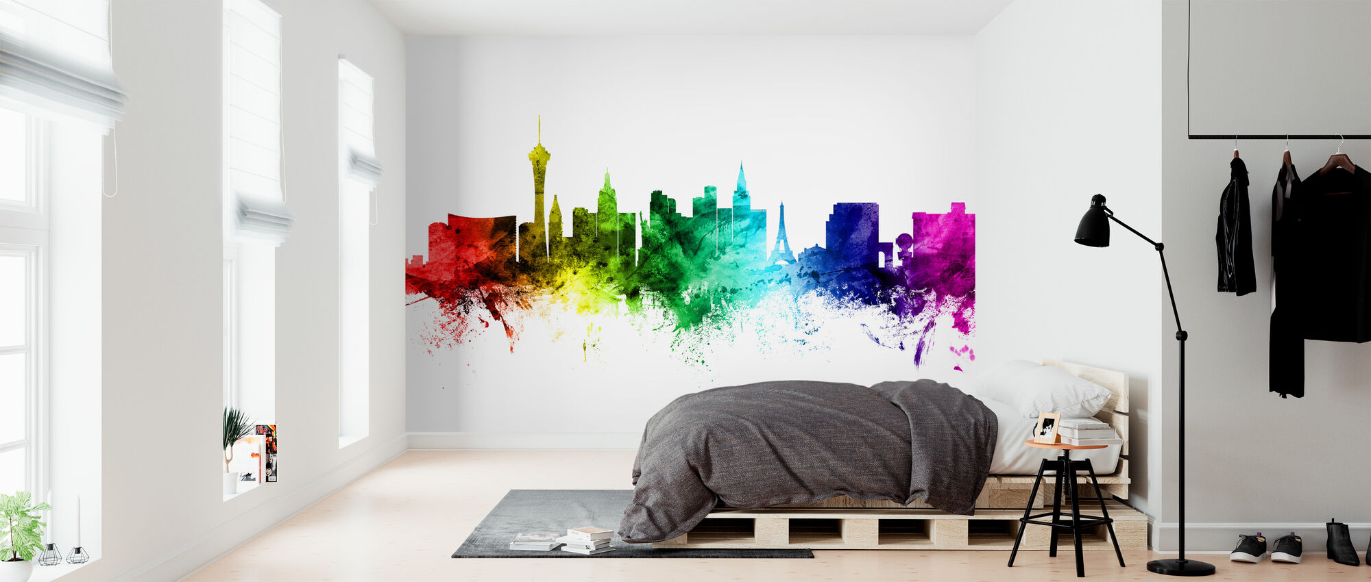Las Vegas Skyline Rainbow - Wallpaper - Bedroom