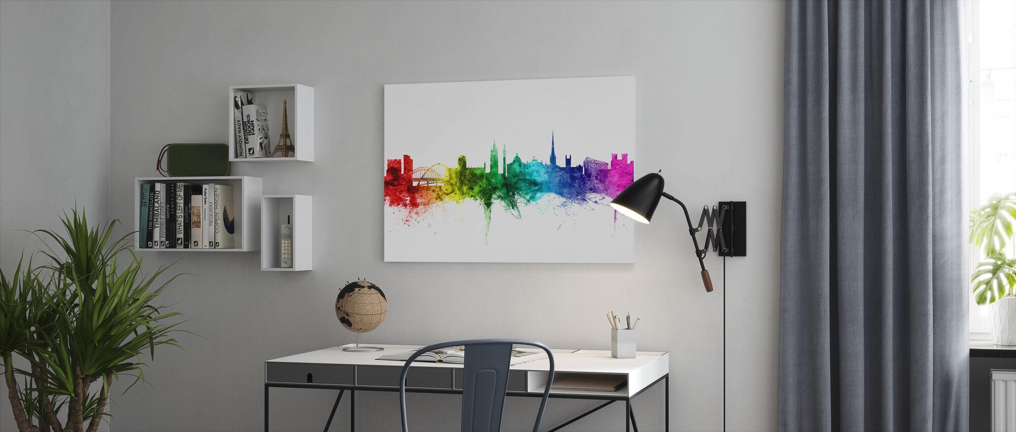 Newcastle Skyline Rainbow - Canvas print - Office