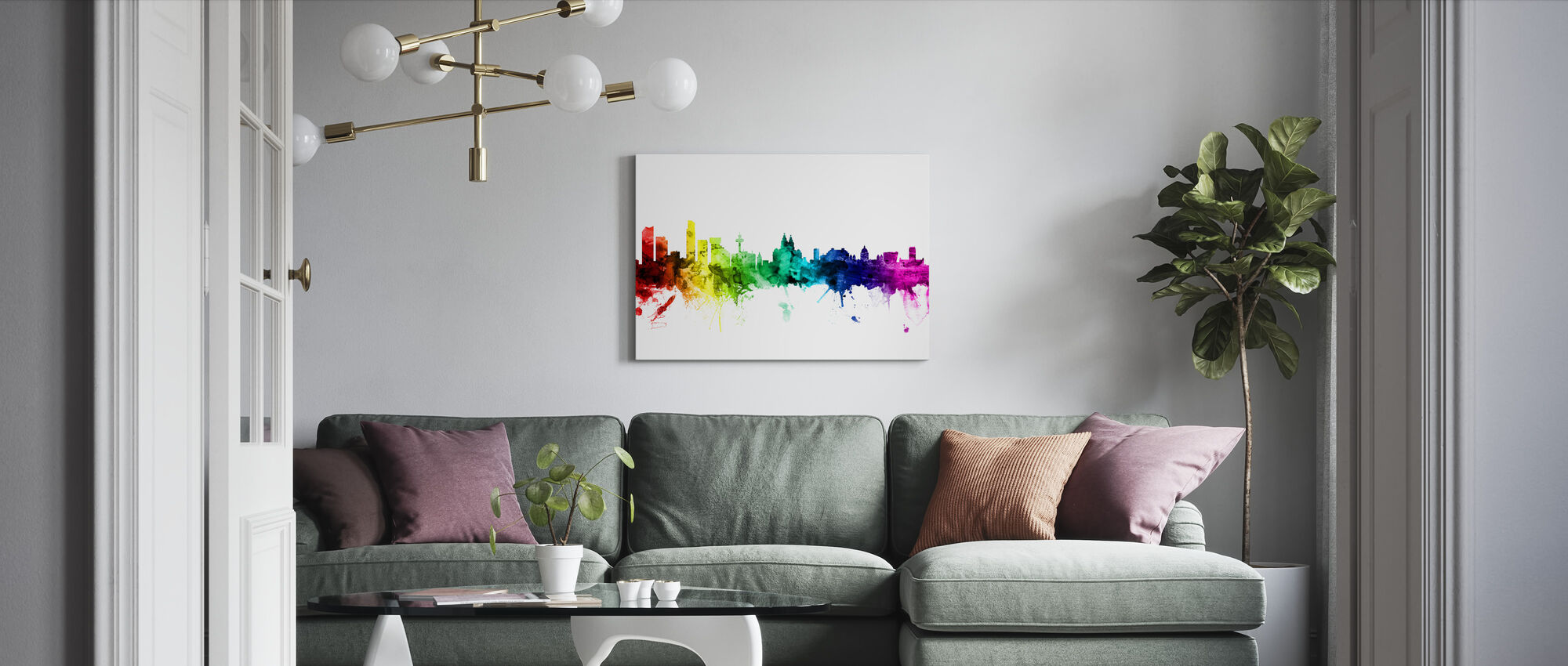 Liverpool Skyline Rainbow - Canvas print - Living Room