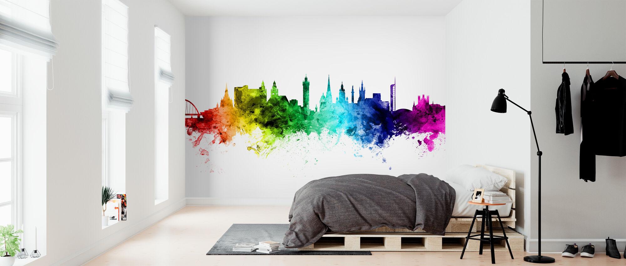 Glasgow Skyline Rainbow - Wallpaper - Bedroom
