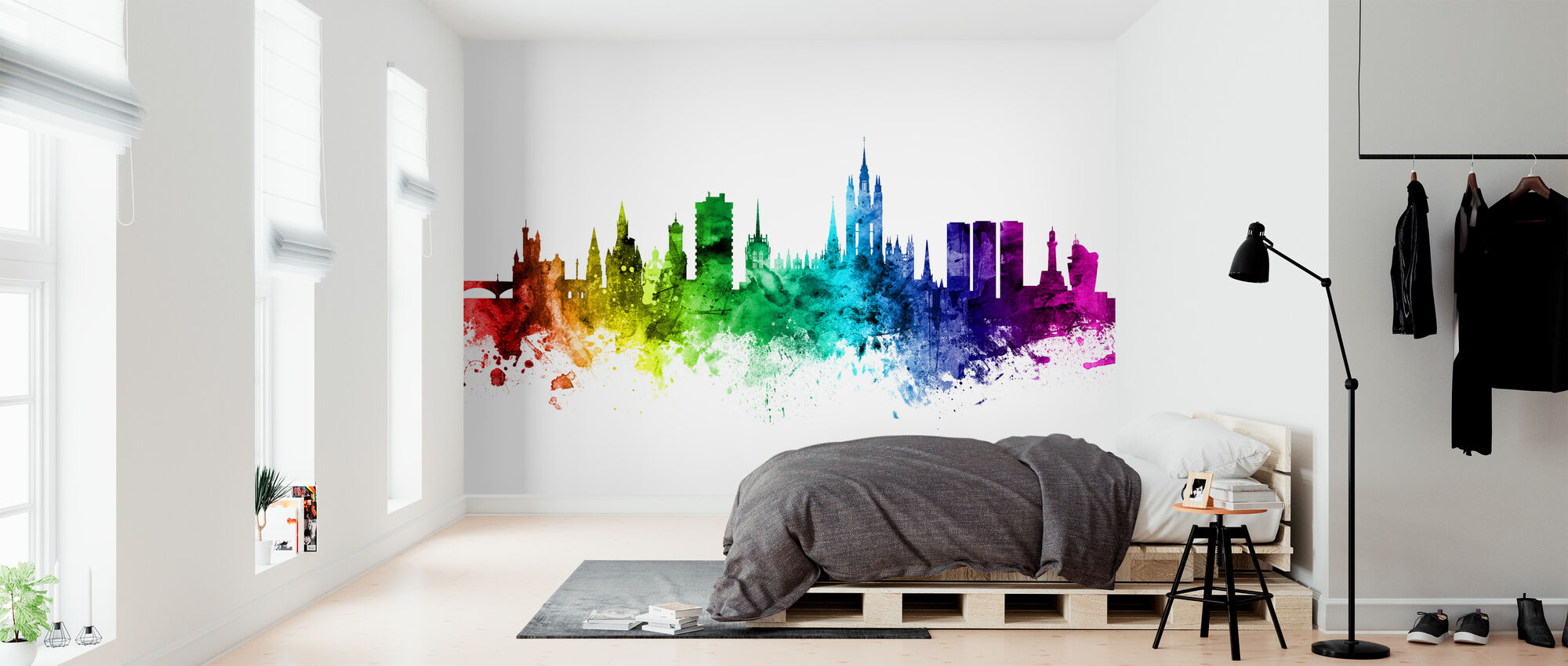 Aberdeen Skyline Rainbow - Wallpaper - Bedroom