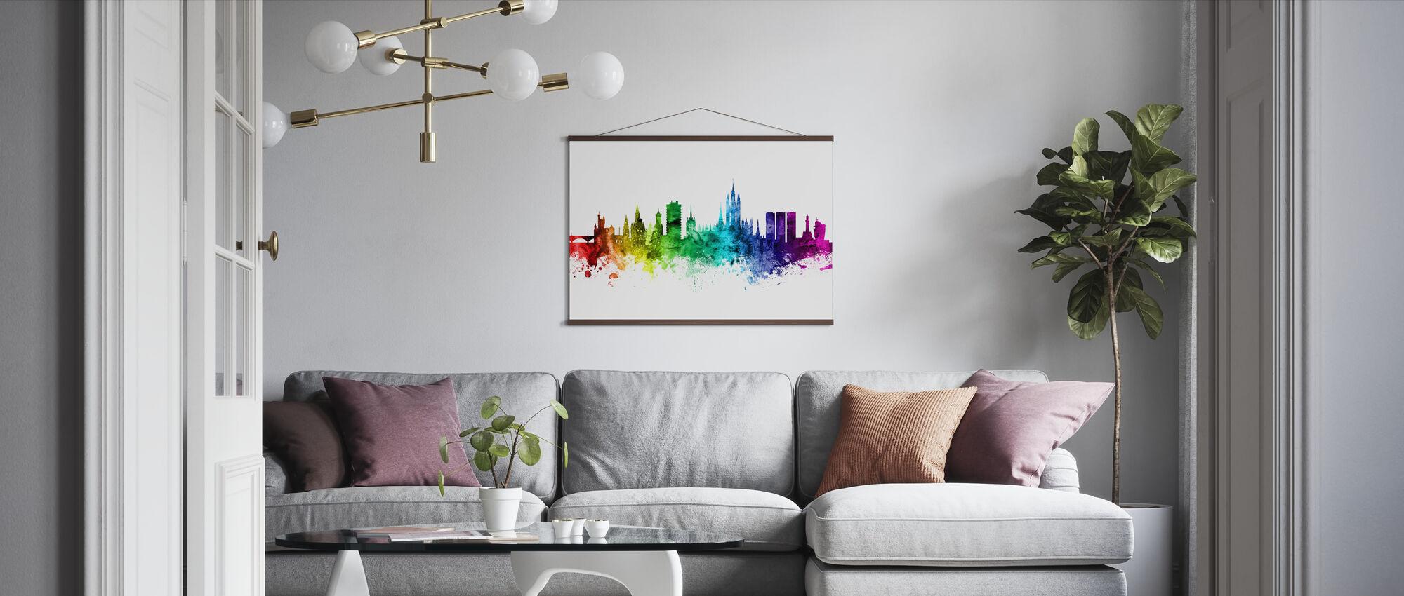 Aberdeen Skyline Rainbow - Poster - Living Room