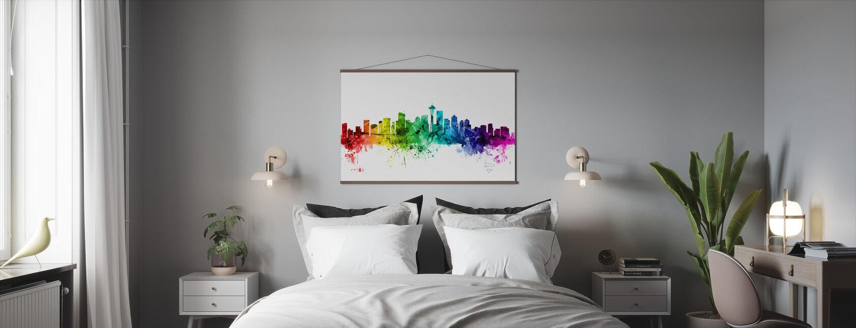 Washington Skyline Rainbow - Poster - Bedroom