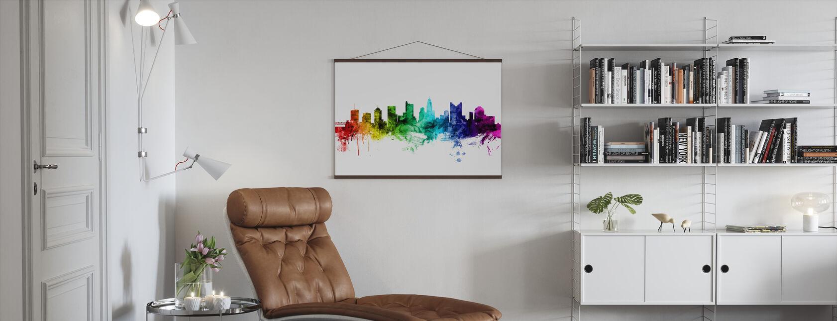 Columbus Ohio Skyline Rainbow - Poster - Living Room