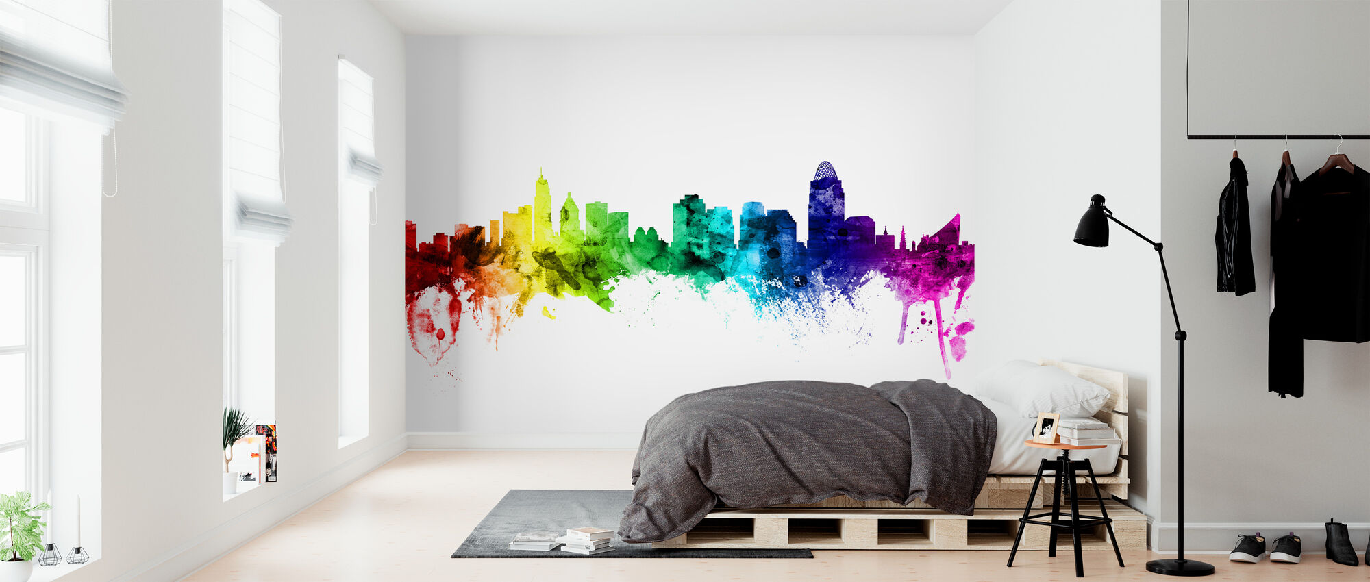 Cincinnati Ohio Skyline Rainbow - Wallpaper - Bedroom