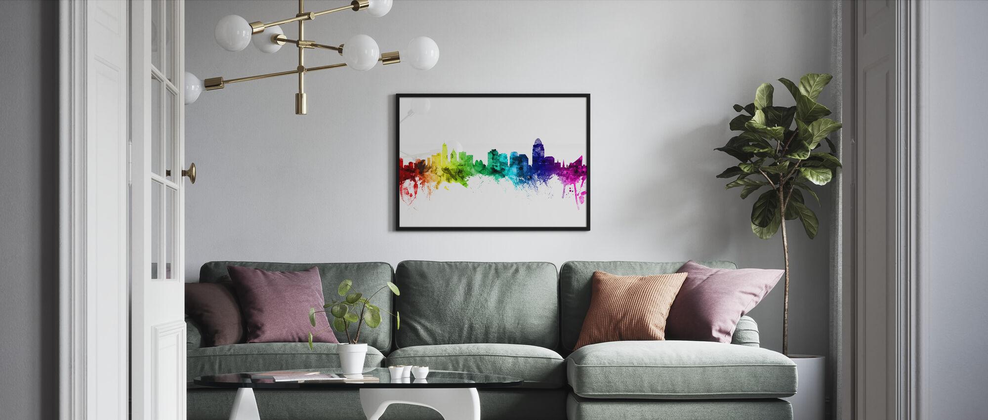 Cincinnati Ohio Skyline Rainbow - Ingelijste print - Woonkamer