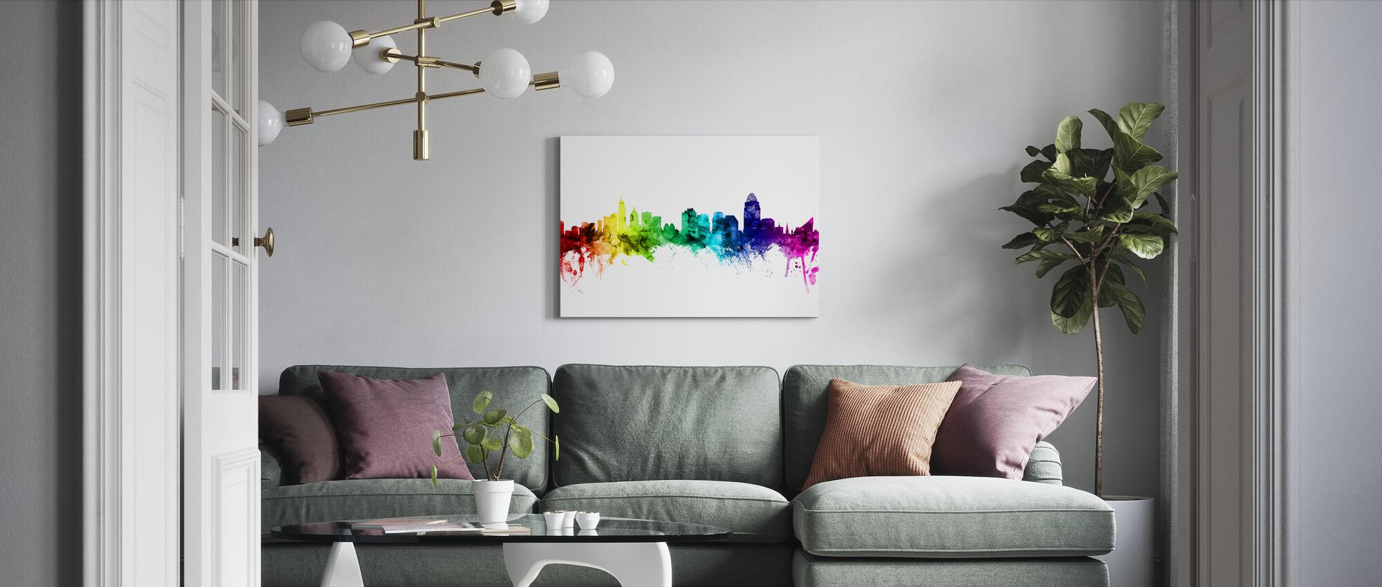 Cincinnati Ohio Skyline Rainbow - Canvas print - Woonkamer