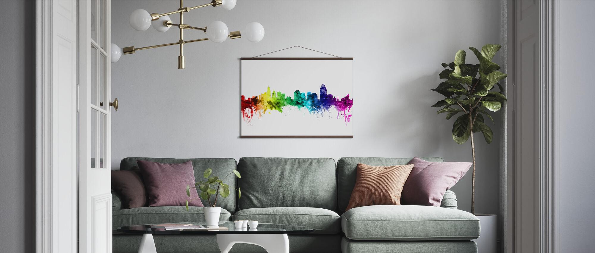 Cincinnati Ohio Skyline Arcobaleno - Poster - Salotto