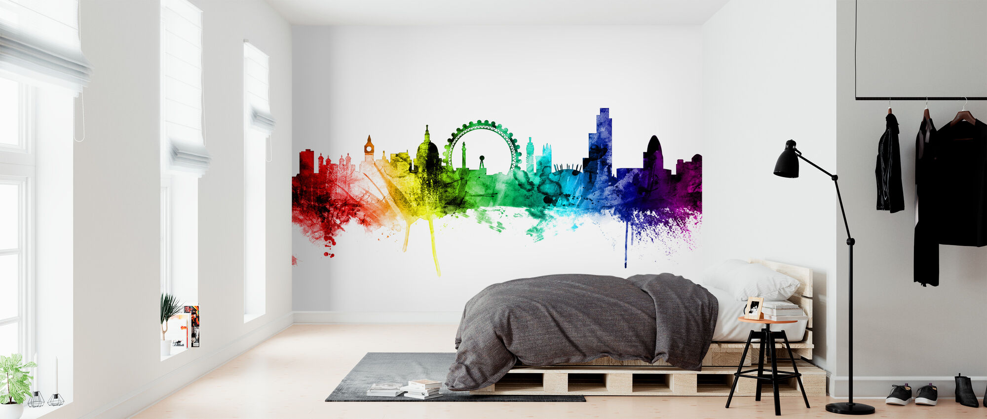 London Skyline Rainbow 2 - Wallpaper - Bedroom
