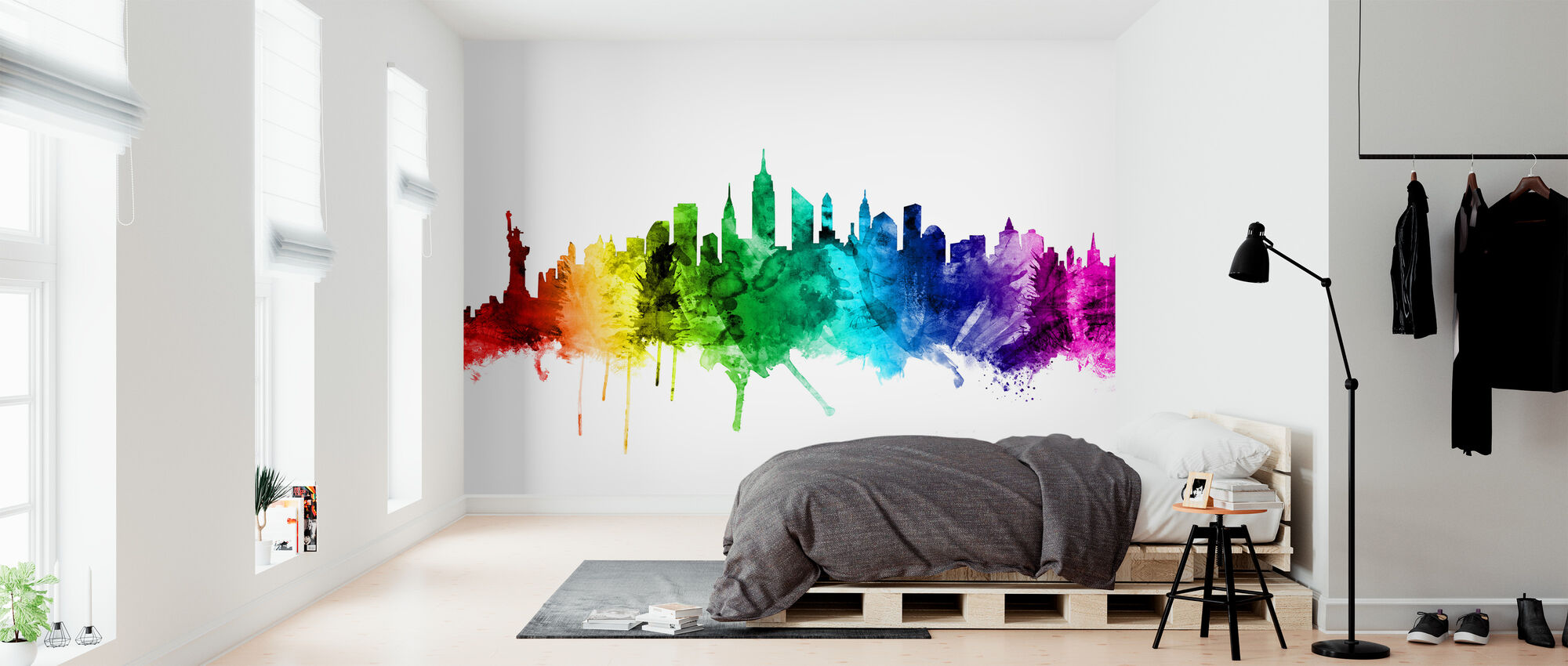 New York Skyline Rainbow 2 - Wallpaper - Bedroom