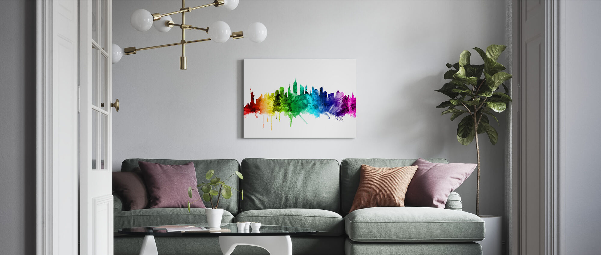 New York Skyline Rainbow 2 - Canvas print - Living Room