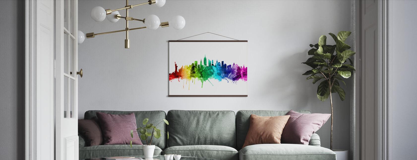 New York Skyline Sateenkaari 2 - Juliste - Olohuone