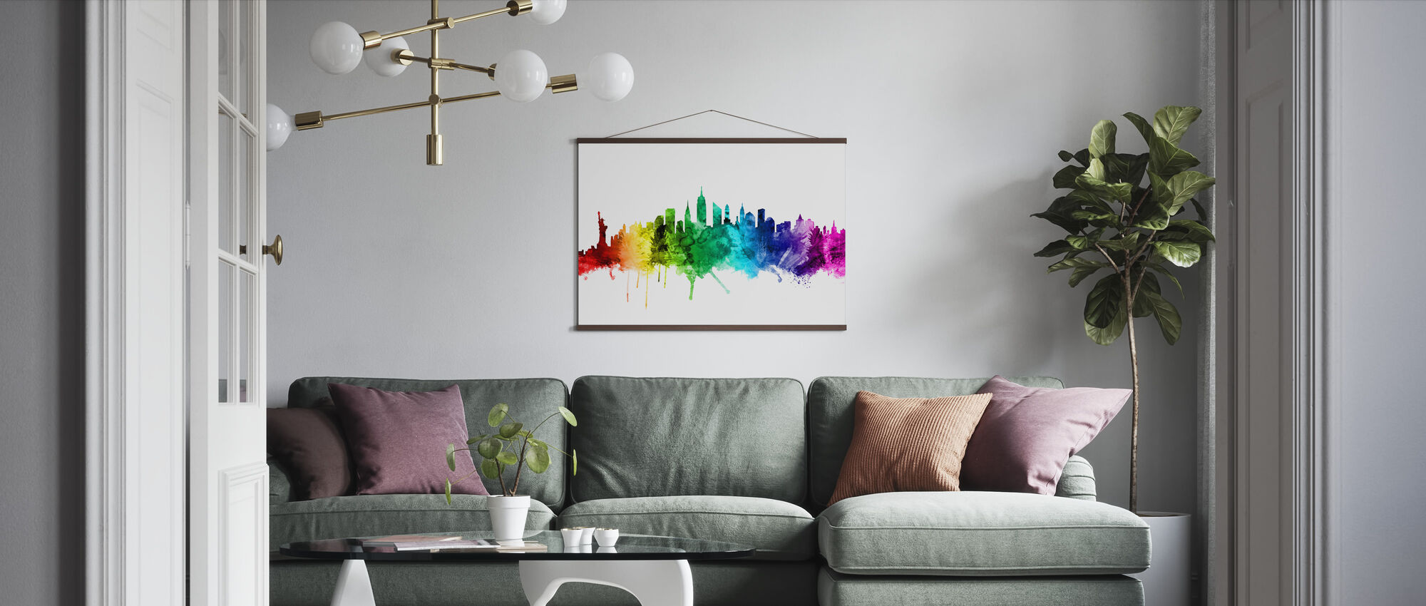 New York Skyline Rainbow 2 - Poster - Woonkamer