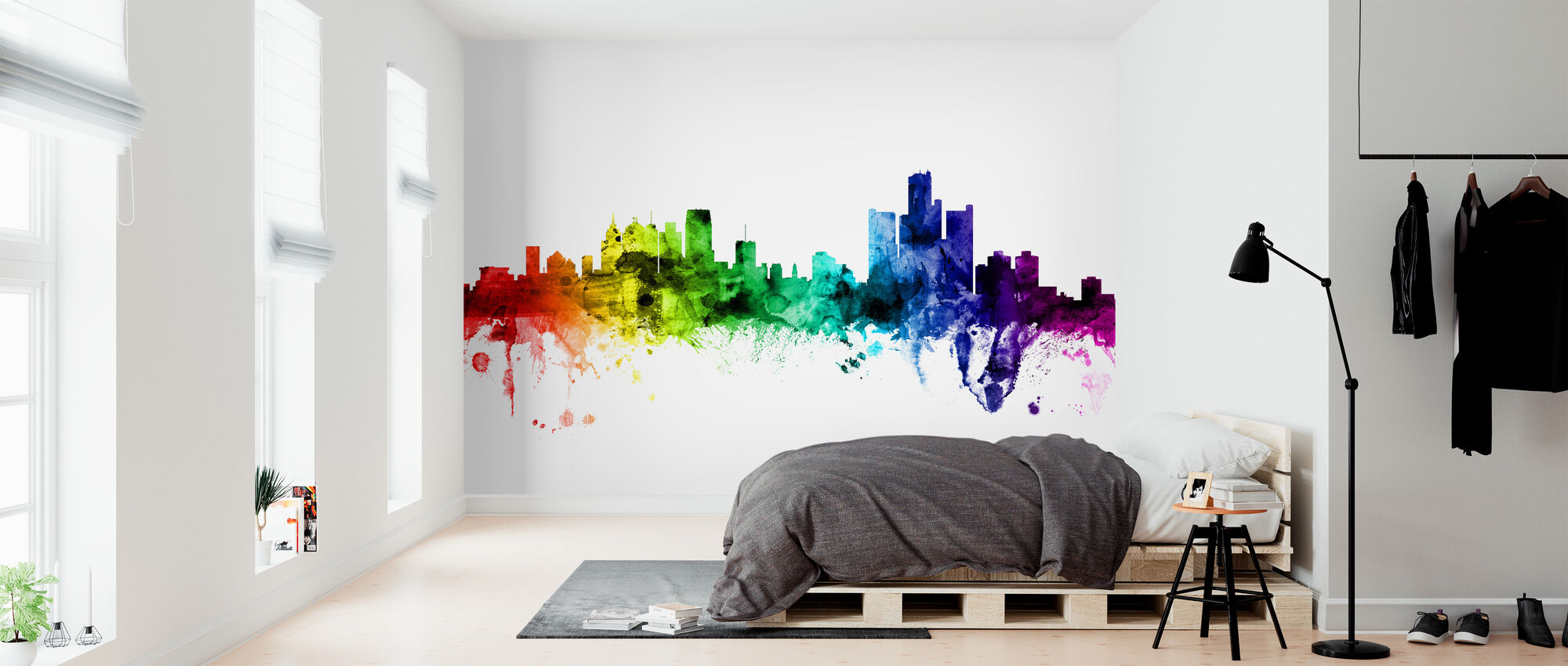 Detroit Michigan Skyline Rainbow - Wallpaper - Bedroom