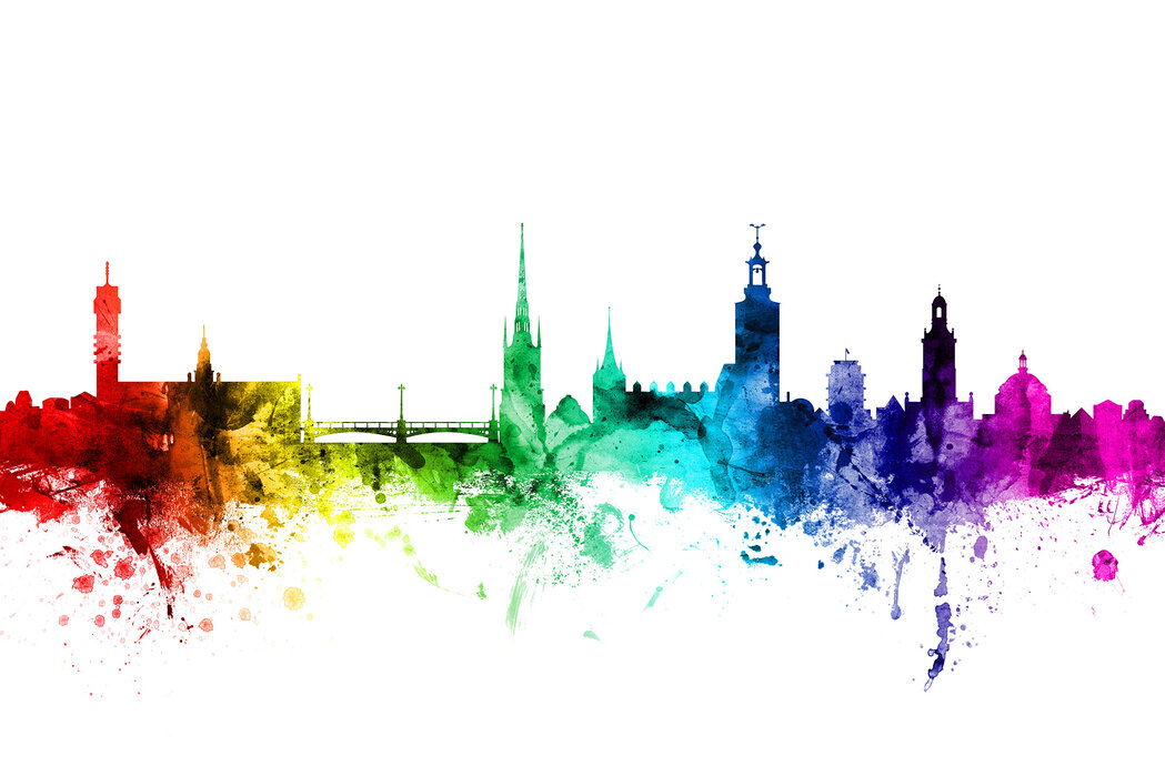 Stockholm Skyline Rainbow A Wall Mural For Every Room