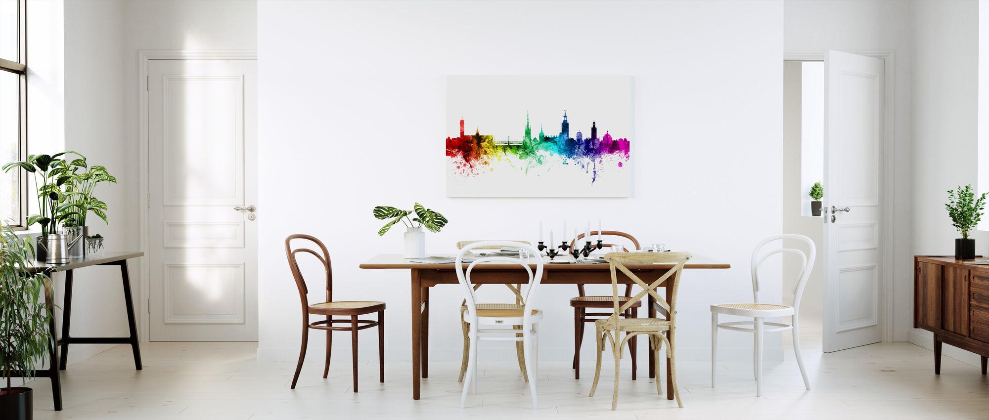 Stockholm Skyline Rainbow - Canvastavla - Kök