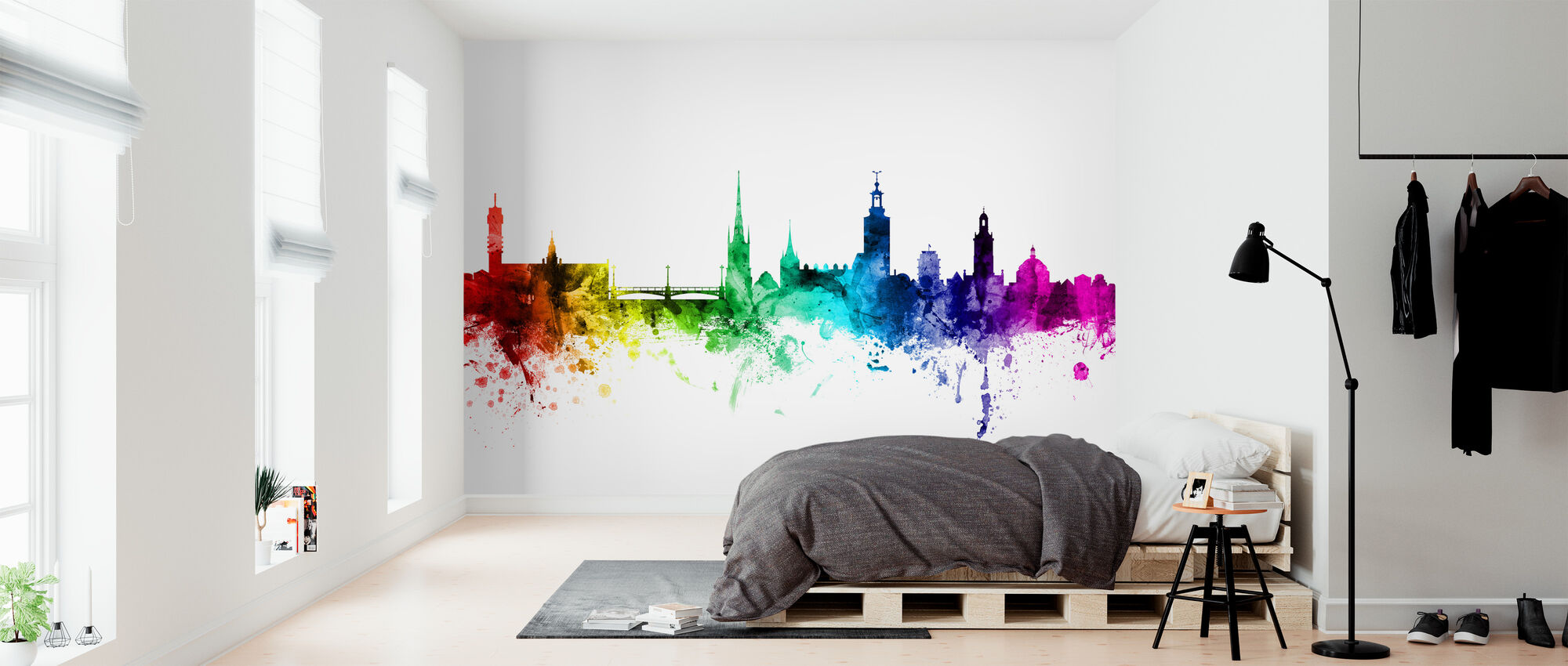 Estocolmo Skyline Rainbow - Papel pintado - Dormitorio