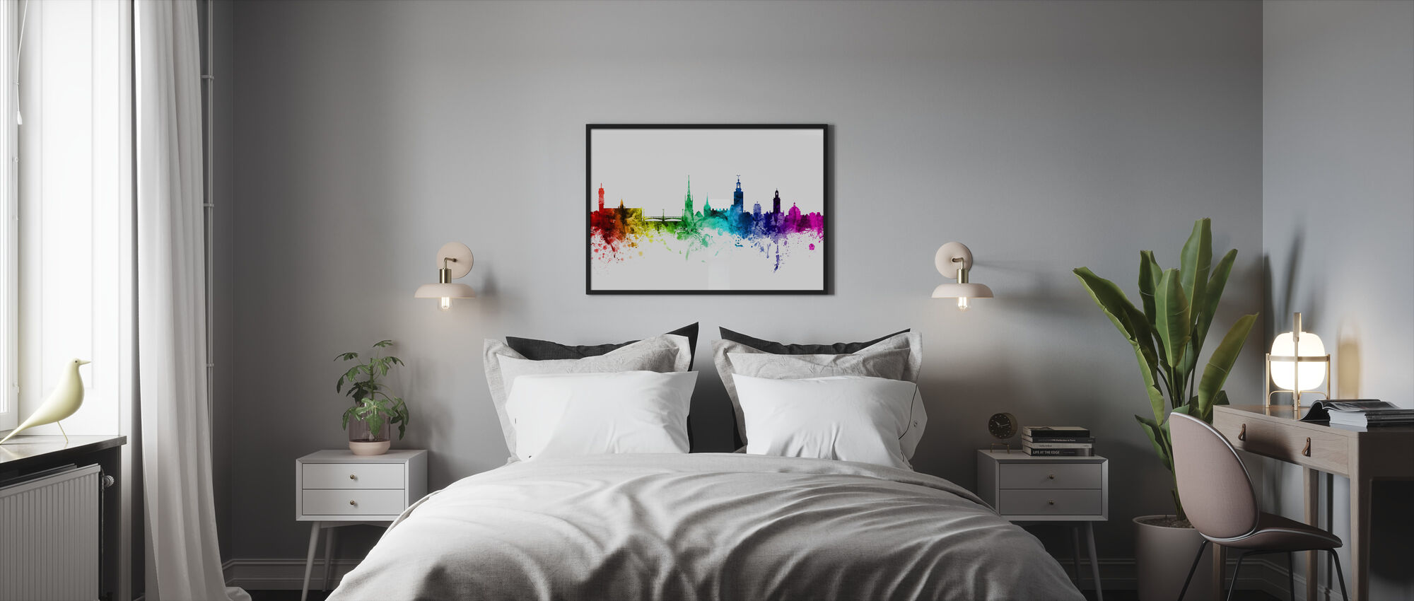 Stockholm Skyline Rainbow - Framed print - Bedroom