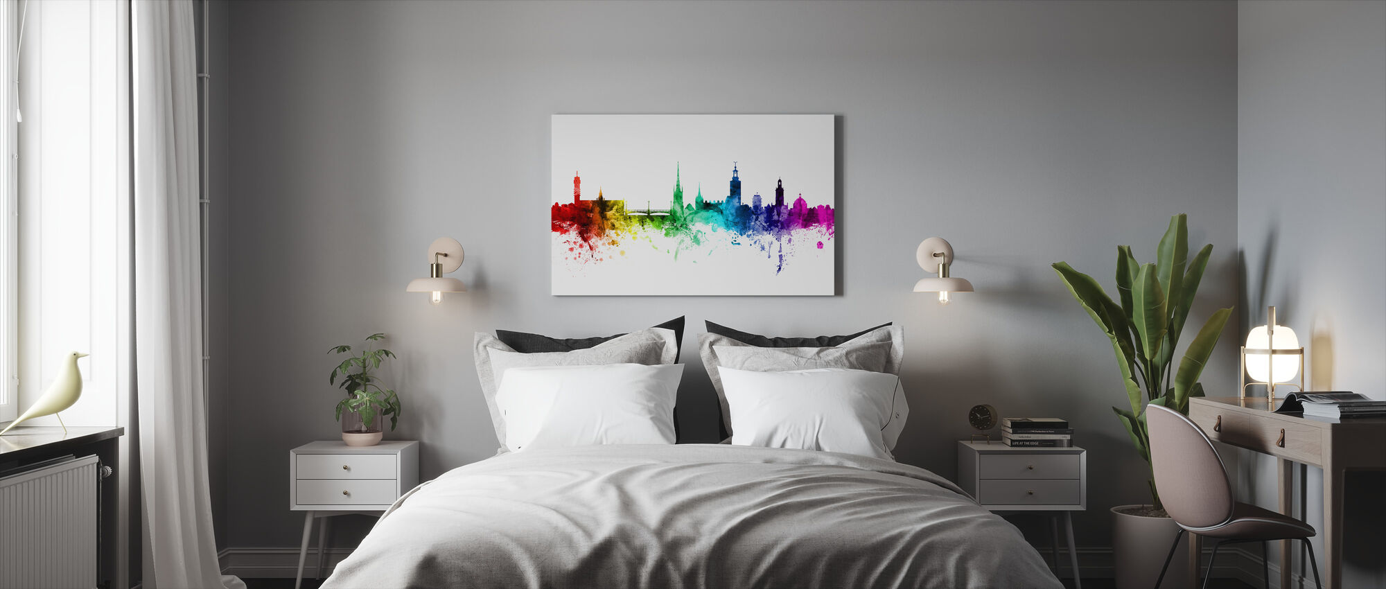 Stockholm Skyline Rainbow - Canvas print - Bedroom