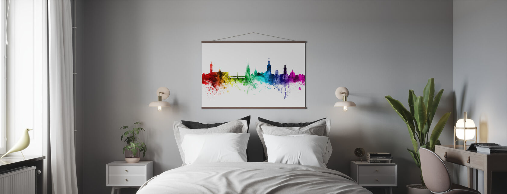 Stockholm Skyline Rainbow - Poster - Sovrum