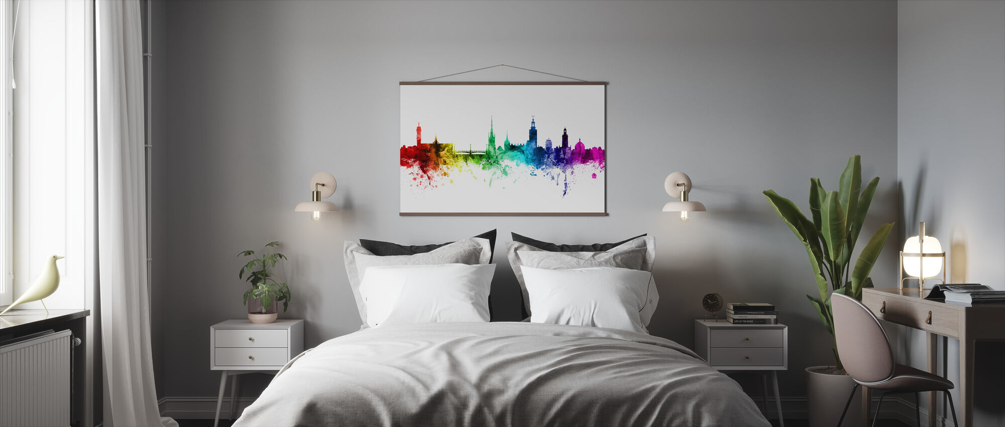 Stockholm Skyline Rainbow - Poster - Bedroom