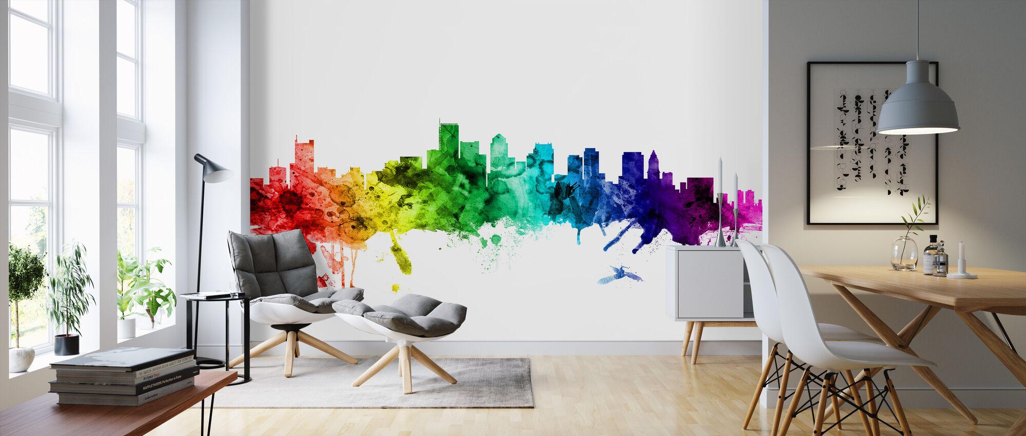 Boston Massachusetts Skyline Rainbow - Wallpaper - Living Room