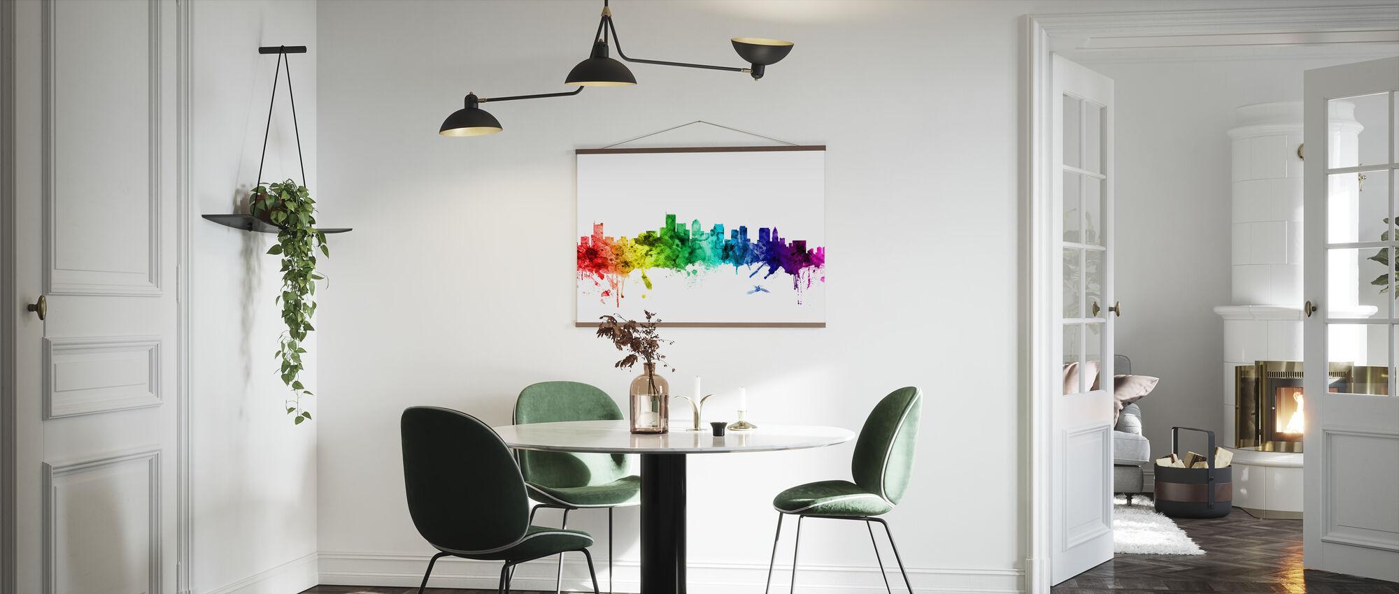 Boston Massachusetts Skyline Rainbow - Poster - Kitchen