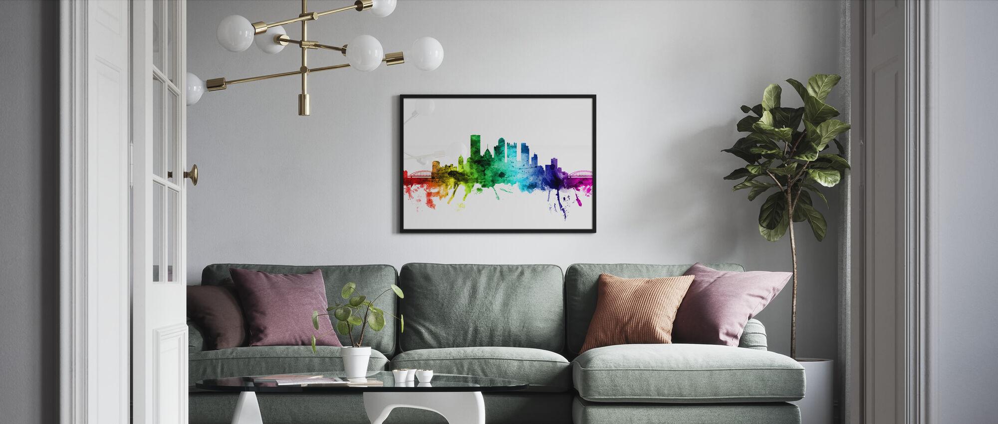 Pittsburgh Pennsylvania Skyline Rainbow - Framed print - Living Room