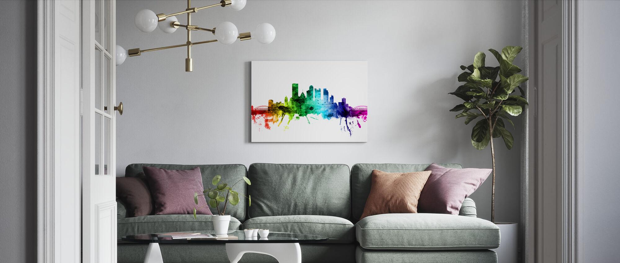 Pittsburgh Pennsylvania Skyline Rainbow - Canvas print - Living Room