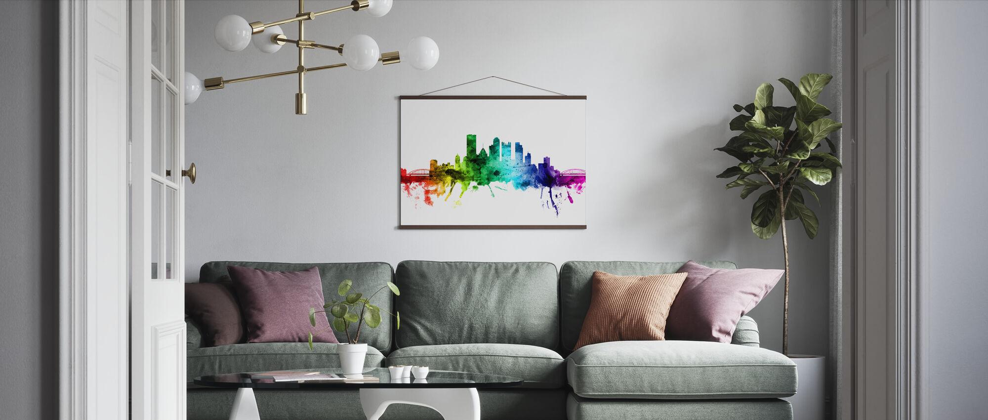 Pittsburgh Pennsylvania Skyline Rainbow - Poster - Living Room