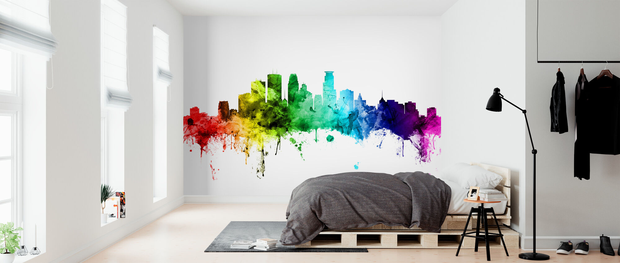 Minneapolis Minnesota Skyline Rainbow - Wallpaper - Bedroom