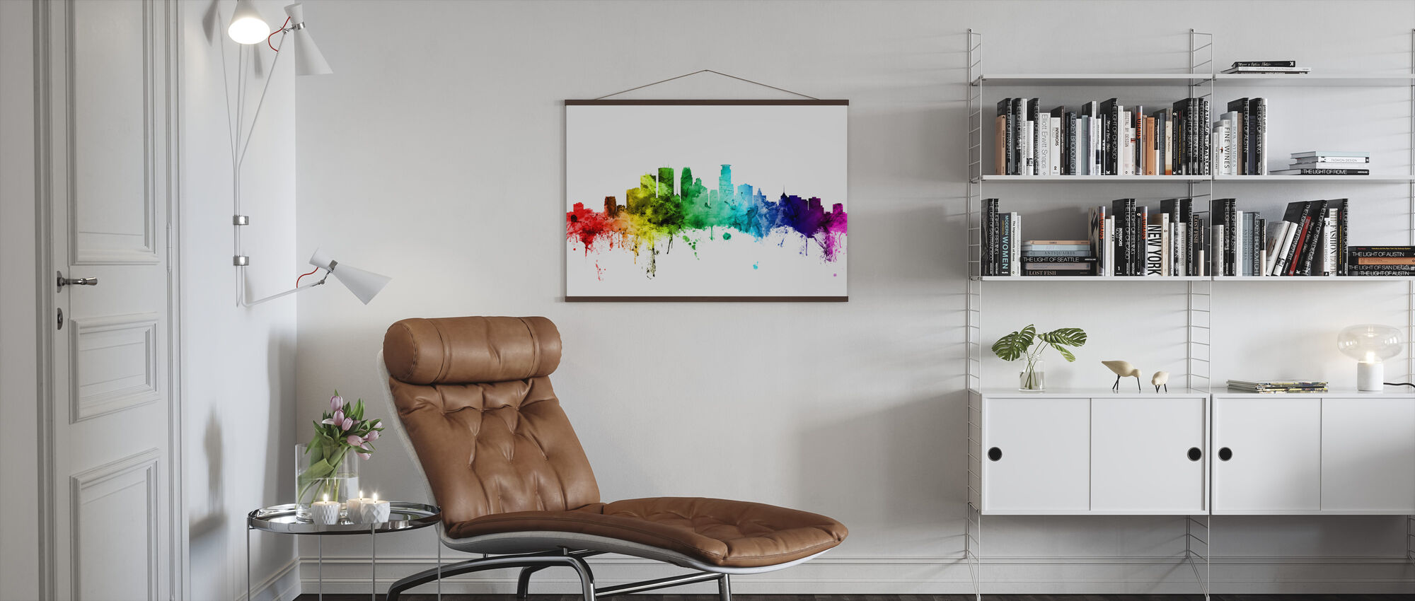 Minneapolis Minnesota Skyline Rainbow - Poster - Living Room