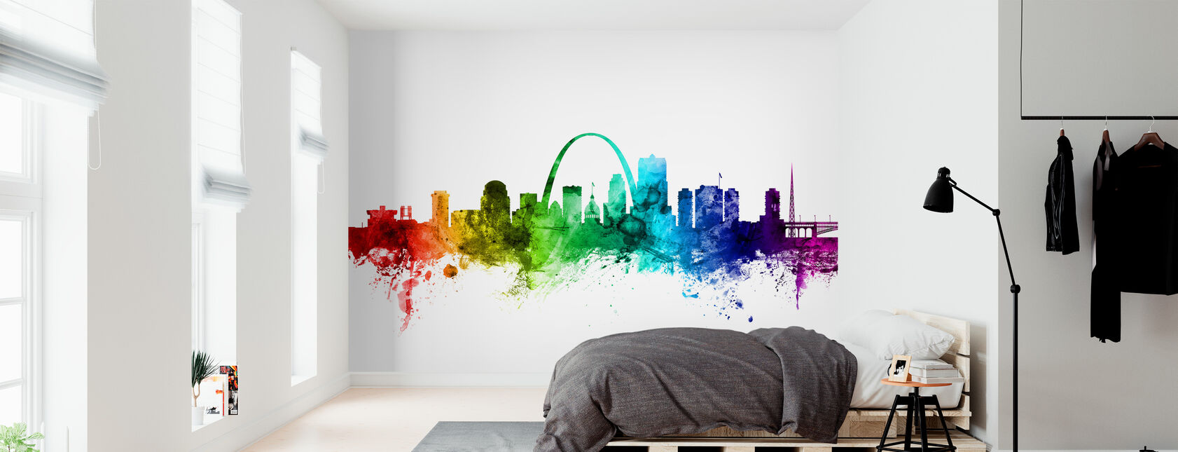 St. Louis Missouri Skyline Regenbogen - Tapete - Schlafzimmer