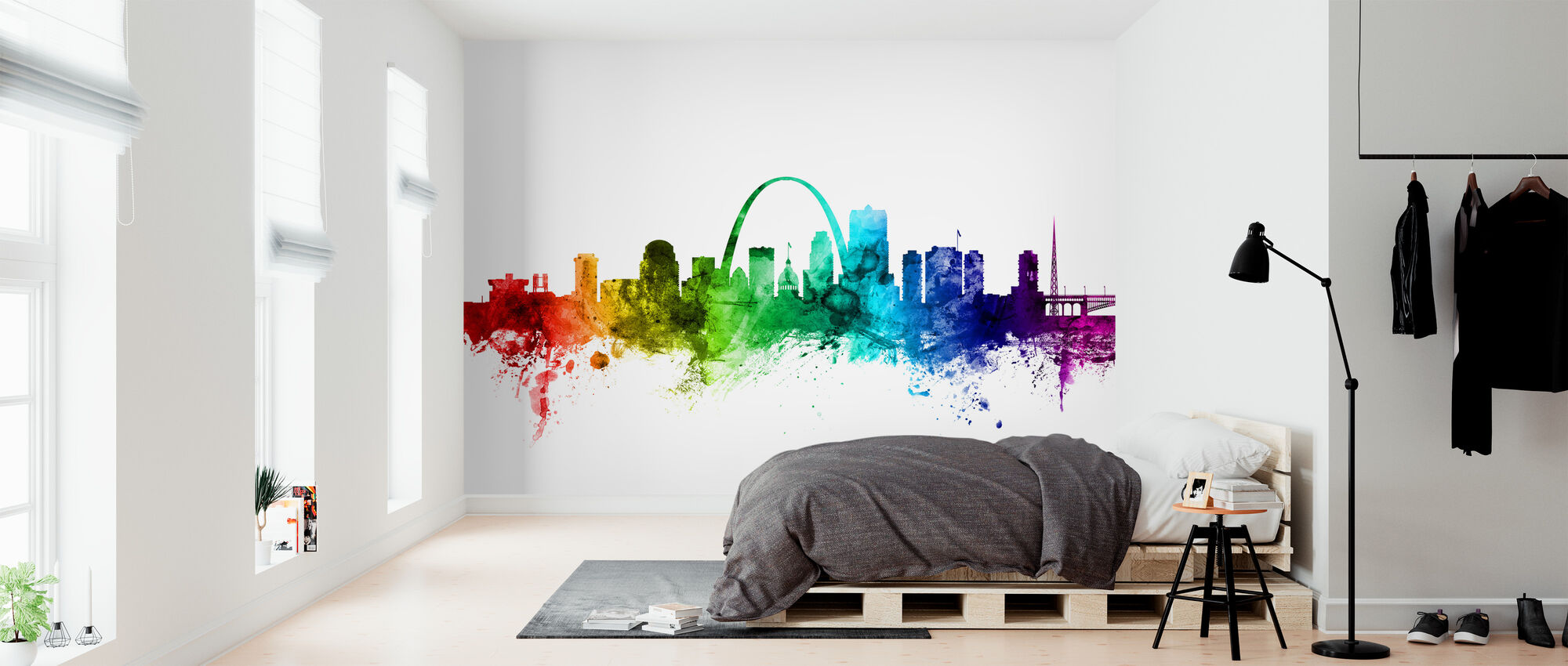 St Louis Missouri Skyline Rainbow - Tapeta - Sypialnia
