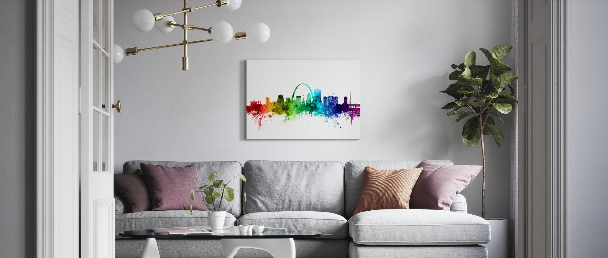 St. Louis Missouri Skyline Regenbogen - Leinwandbild - Wohnzimmer