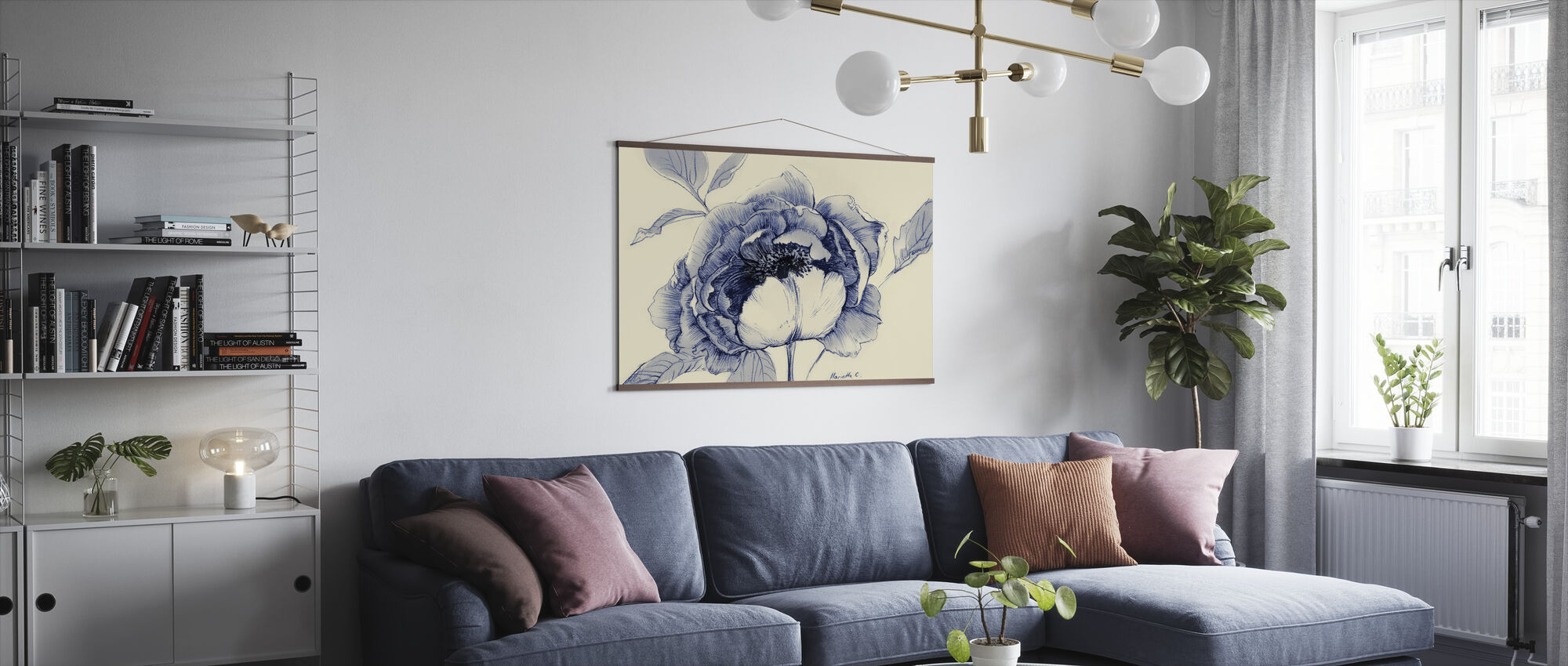 Light Indigo Flower - Poster - Living Room