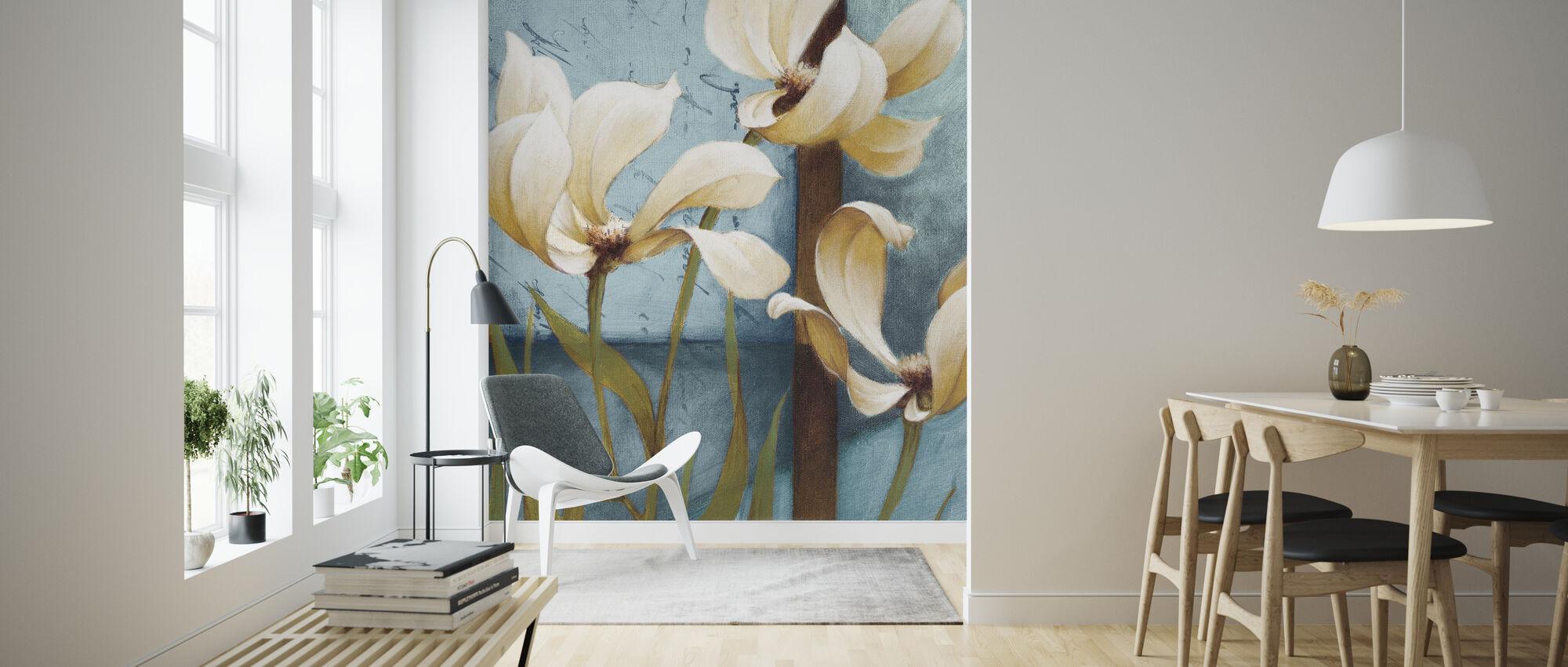 Magnolia Schilderij - Behang - Woonkamer