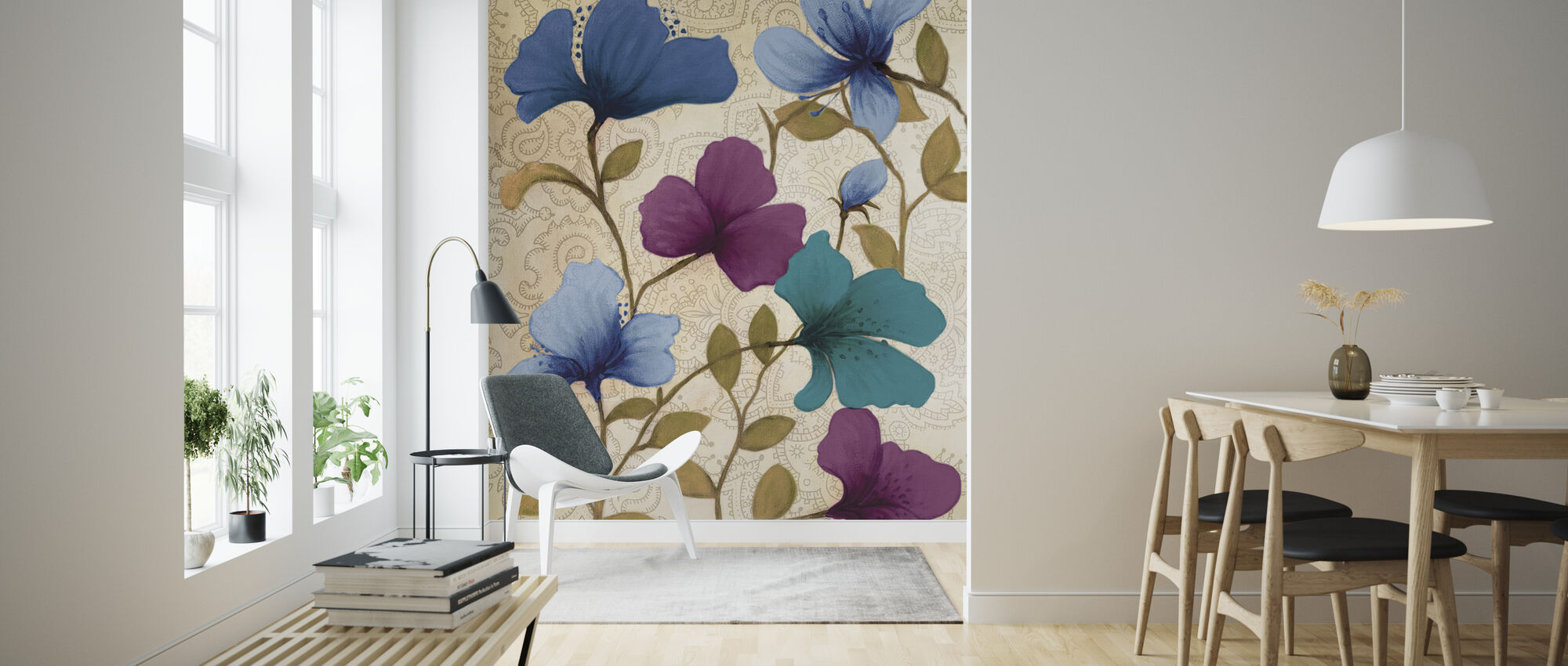 Målade blommor - Tapet - Vardagsrum