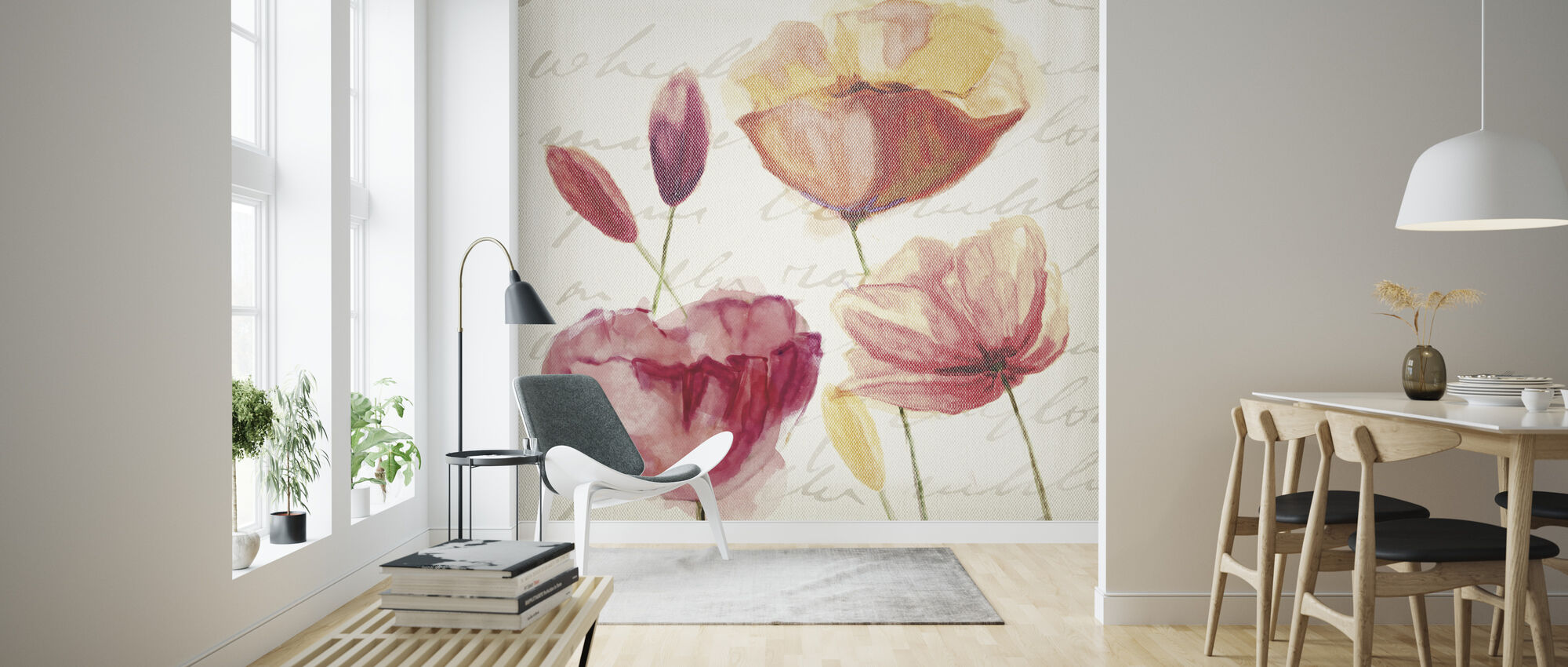 Postcard Poppies - Wallpaper - Living Room