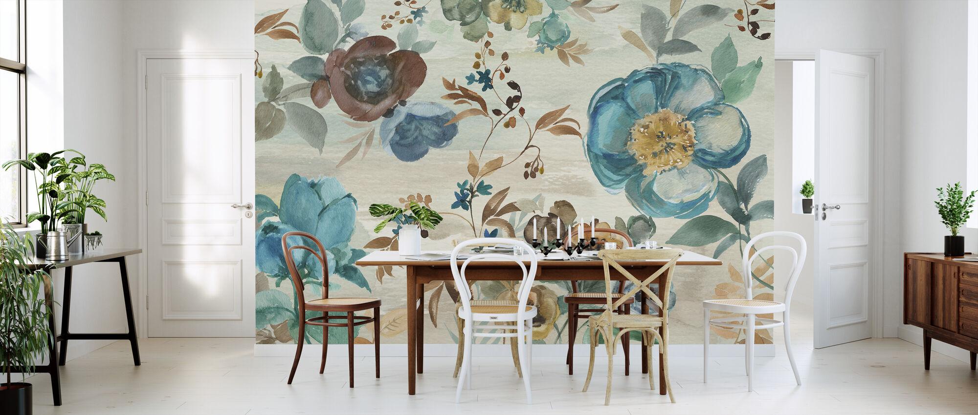 Turquoise Floral - Behang - Keuken