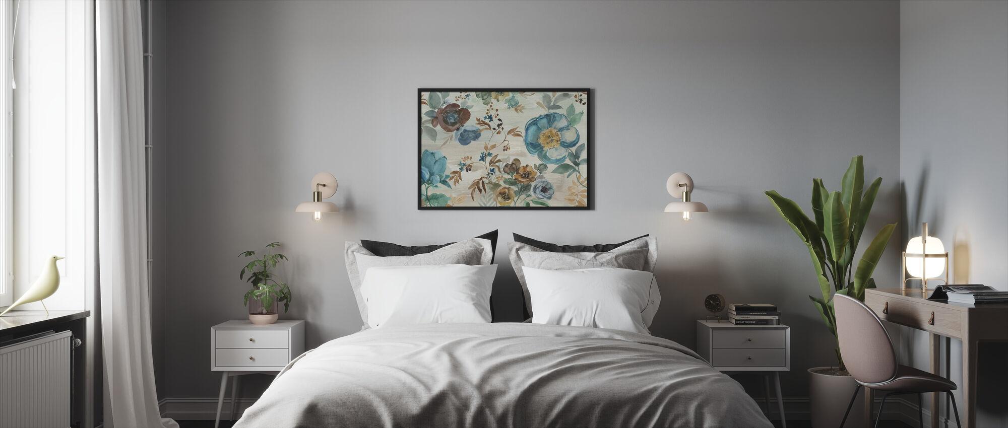 Turquoise Floral - Kehystetty kuva - Makuuhuone
