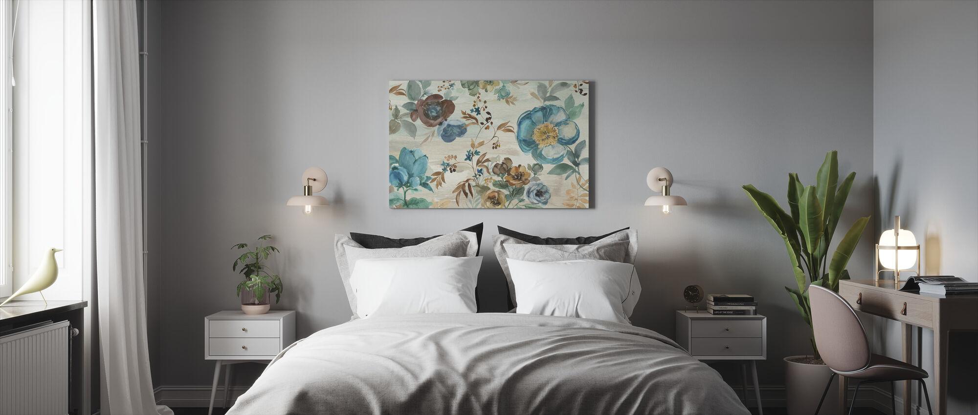 Turquoise Floral - Canvastaulu - Makuuhuone