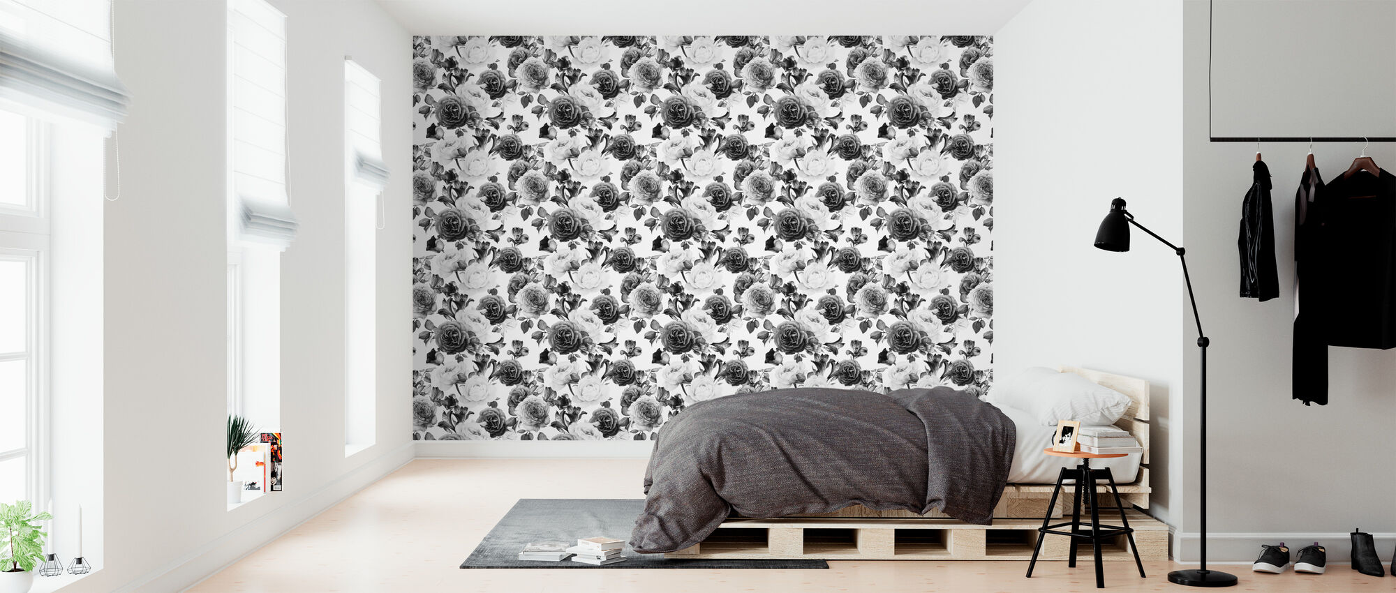 Grey Roses Pattern - Wallpaper - Bedroom